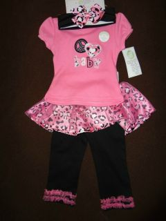 Baby Gear By Cutie Pie Baby Girl Sz 3 6 Month 3 Piece Shirt Pant