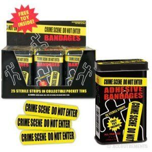 Crime Scene Tape Healing Bandage Band Aid Tin Can Free Toy Tattoo