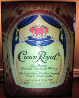 Crown Royal Whiskey Bottle Bag Neon Bar Sign Light Box