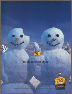 Crown Royal Whisky 2001 print ad / magazine advertisement, Snowmen
