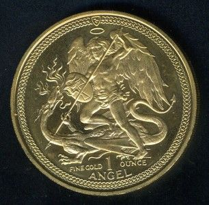 Isle of Man 1986 One Ounce Angel Gold Coin as Shown