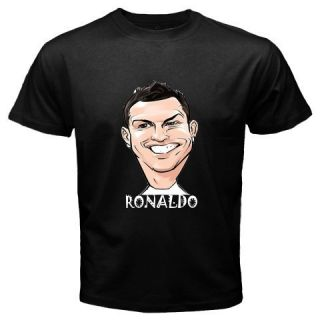 Cristiano Ronaldo CR7 Funny Face Real Madrid Player Black T Shirt Size