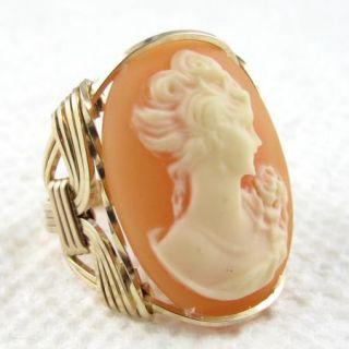 Lady Rose Cameo Ring 14k Rolled Gold Custom Jewelry