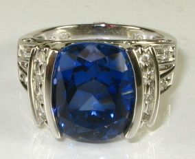 5ct Checkerboard Cut Tanzanite .50ctw Diamond 10k White Gold Ring 7.4g