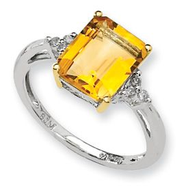 Sterling Silver & 14K Genuine Emerald Cut Citrine & Diamond Ring