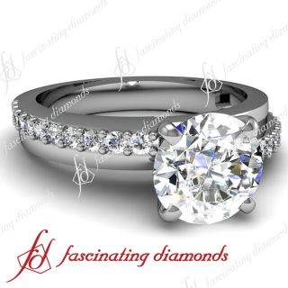 Ct Round Cut Diamond Engagement Ring Pave Set 14K WHITE GOLD SI1 GIA