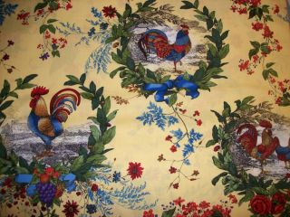Rooster French Country Kitchen curtain Valance cotton fabric yellow