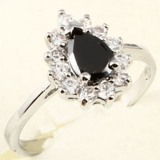 7mm Pear Cut Black Sapphire Cocktail 84 Ring