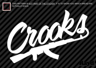 2X Crooks and Castles Sticker Die Cut Decal Self Adhesive AK 47 Vinyl