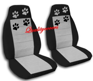 Cute Paw Prints Car Seat Covers Blk Silver Cool Nice