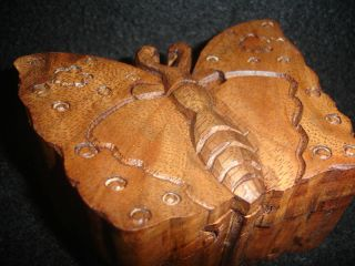 Balinese Butterfly Secret Puzzle Box Trinket Hand Carved Wood Bali Art