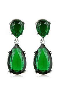Jay Lane New KJL Silver Emerald Swarovski Crystal Drop Earrings