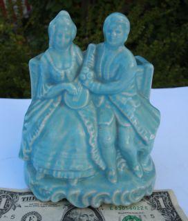 Vtg Art Pottery Romantic Courting Couple Planter Aqua