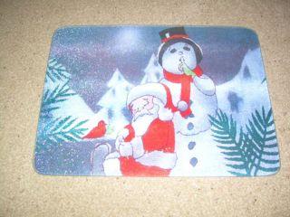 Santa Snowman Large Glass Cutting Board Counter Saver