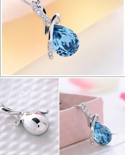 Newest 18K GP Swarovski Crystal Necklace Pendant Options 4colour U