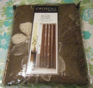 CROSCILL EMBROIDERED FLORAL SHOWER CURTAIN W/ RIBBON TRIM CHOCOLATE