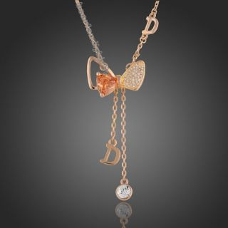 18K Rose Gold GP Swarovski Crystal Citrine Butterfly Necklace N122