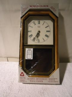 Vtg Glass Crystal World Wall Clock Quartz Movement Pendulum Clock New