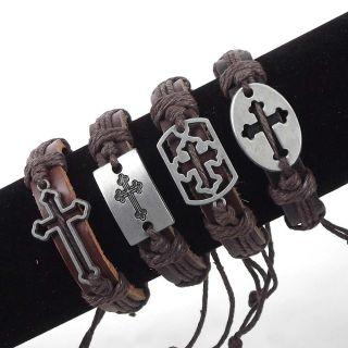 Lot 4X Mens Cross Hemp Leather Bracelet Gift Boy Birthday Party Bag