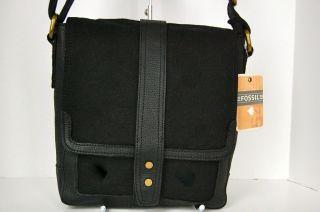 Black Canvas Leather Ranger City Bag Cross Body Small Messenger