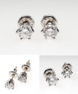 Natural Diamond Stud Earrings Round Brilliants 14K White Gold sku
