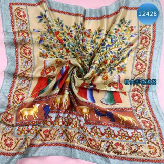 Scarves Women Silk Head Scarf Wishing Tree Printing Shawl