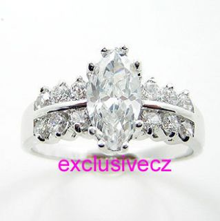Carat~~~Size 11~~~ MARQUISE~~White Gold Plated 14K GP CZ Wedding