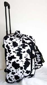 Tote Bag Rolling Luggage Case Wheel Purse Black White Cow Print