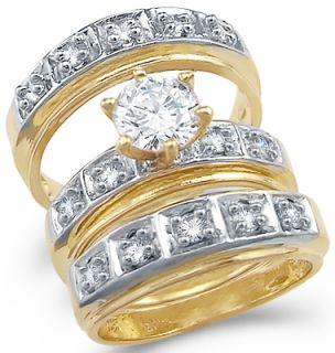 14k Yellow N White Gold CZ Wedding Engagement Ring Set