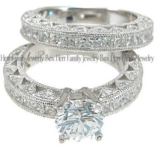 14k White Gold .925 Platinum CZ Engagement Ring Wedding Set size 5 6 7