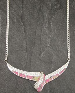 sterling silver created pink opal inlay cz necklace item nk op003 7