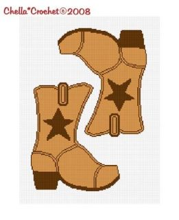 Cowboy Boot Star Brown 2 Afghan Crochet Pattern Graph