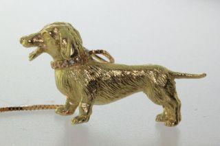 18K Gold Dachshund Dog Pin w Diamond Collar Whitehurst