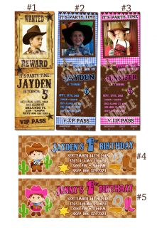 Cowboy Cowgirl western Custom Birthday Party invitation ticket