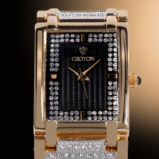 Croton Heritage Series, Swarovski Crystals Black Face Gold Tone Case
