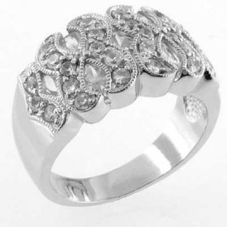 Round Cut Cubic Zirconia Sterling Silver Womens Right Hand Ring Sz 7