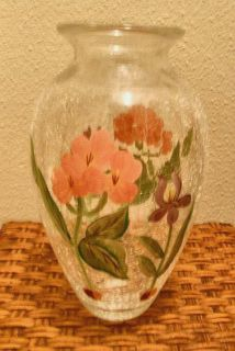 Vase Crackle Glass Clear Handpainted Flowers Pink Purple Clear 10