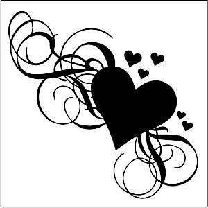 Glass Etching Stencil Sheet 6 x 6 Hearts Scrolls