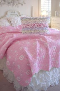TWIN SHABBY COTTAGE CHIC WHITE DAISY FLOWERS PINK QUILT & PETTICOAT