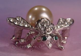 bee pin/brooch w emerald green crystal eyes and clear crystal wings