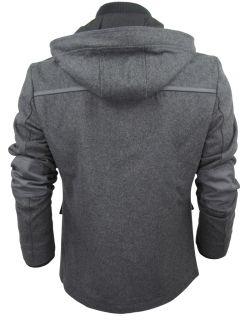 Mens Dissident Barnsdale Wool Rich Hoodie Jacket Coat