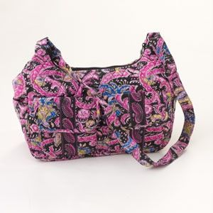 CUL DE SAC BLACK & HOT PINK PAISLEY QUILTED HOBO BAG PURSE HANDBAG