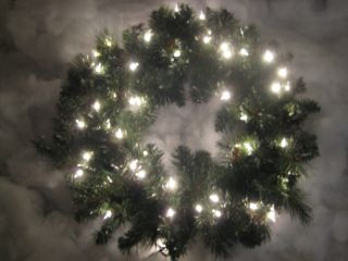 New 24 in Clear Pre Lit Christmas XMAS Crystal River Pine Wreath