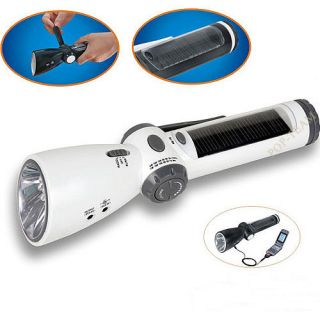 Hand Cranked 7 LED flashlight Torch FM AM Radio Charger White T30W