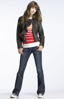 Roxy Stripe Top & Big Star Bootcut Jeans with Jolt Faux Leather Jacket