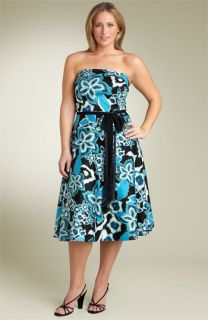 Lily Print Strapless Dress (Plus)