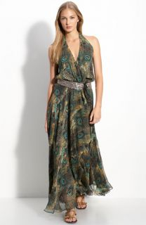 Haute Hippie Silk Maxi Dress with Embellished Belt