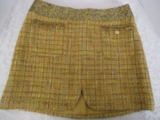 CHANEL COUTURE Strass Jeweled Yellow Wool Tweed Mini Skirt 40 6 M7240