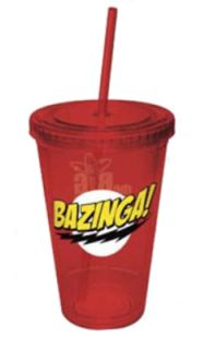 Bang Theory Bazinga Red Plastic Tumbler Cup with Lid and Straw