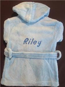 Personalised Any Name Baby Toddler Dressing Gown Hooded Robe Boy Girl